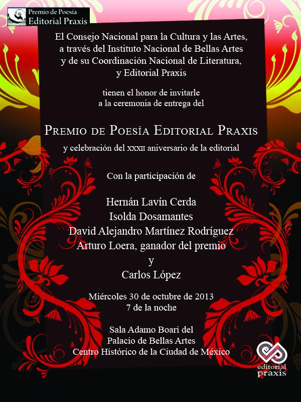 Invitacion Premio de Poesia Editorial Praxis 2013